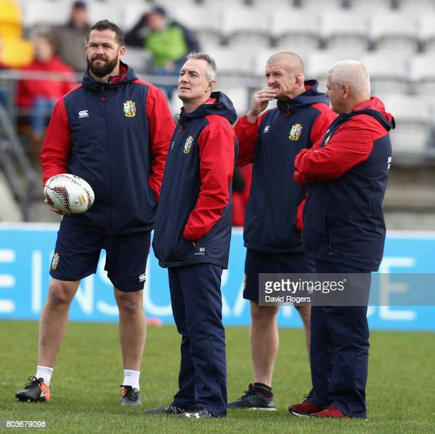 The Lions management group of Andy Farrell Rob Howley Graham Rowntree and Warren Gatland the head coach look on during the British Irish Lions...