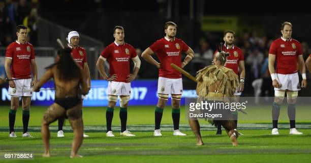 The Lions players face up to a cultural challenge prior to kickoff during the 2017 British Irish Lions tour match between the New Zealand Provincial...