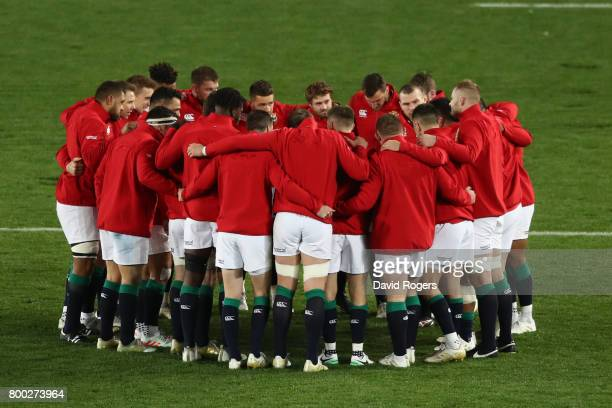 The Lions players huddle up prior to kickoff during the first test match between the New Zealand All Blacks and the British Irish Lions at Eden Park...