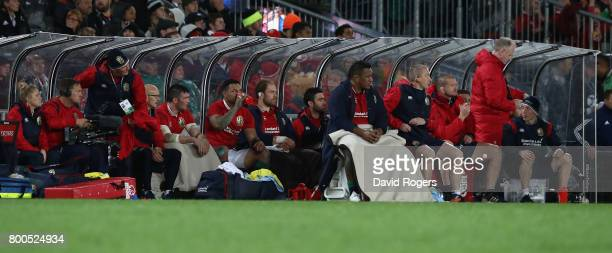 The Lions replacement bench looks on during the Test match between the New Zealand All Blacks and the British Irish Lions at Eden Park on June 24...