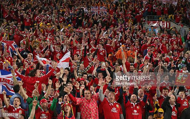 The Lions supporters celebrate the Lions victory during the International Test match between the Australian Wallabies and British Irish Lions at ANZ...