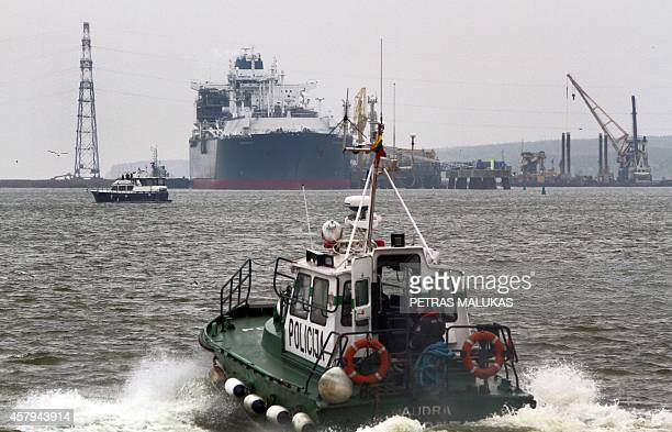 The liquefied natural gas terminal 'Independence' is docked in the port of Klaipeda on October 27 2014 The 'Independence' a huge floating liquefied...