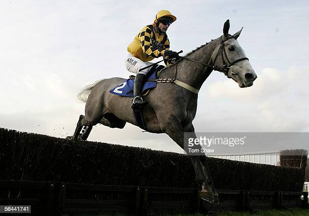 The Listener ridden by Andrew Thornton in action on his way to winning the Arena Leisure PLC Novices Steeple Chase during the race meeting at Windsor...