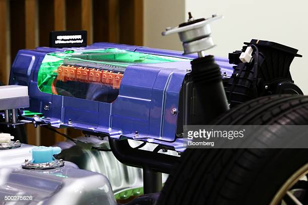 The lithiumion polymer battery of a hybrid vehicle is displayed in the showroom of the Hyundai Mobis Co research and development center during a...