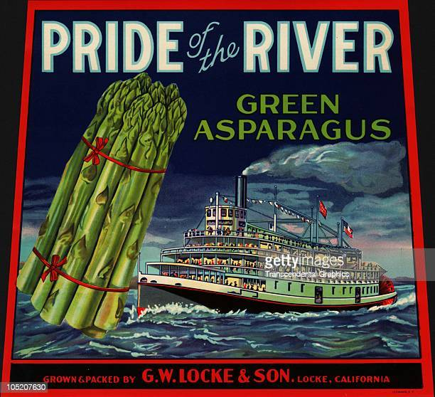 The lithographed box label for the GW Locke �Pride of the River� brand asparagus features an illustration of a large bunch of asparagus and a paddle...
