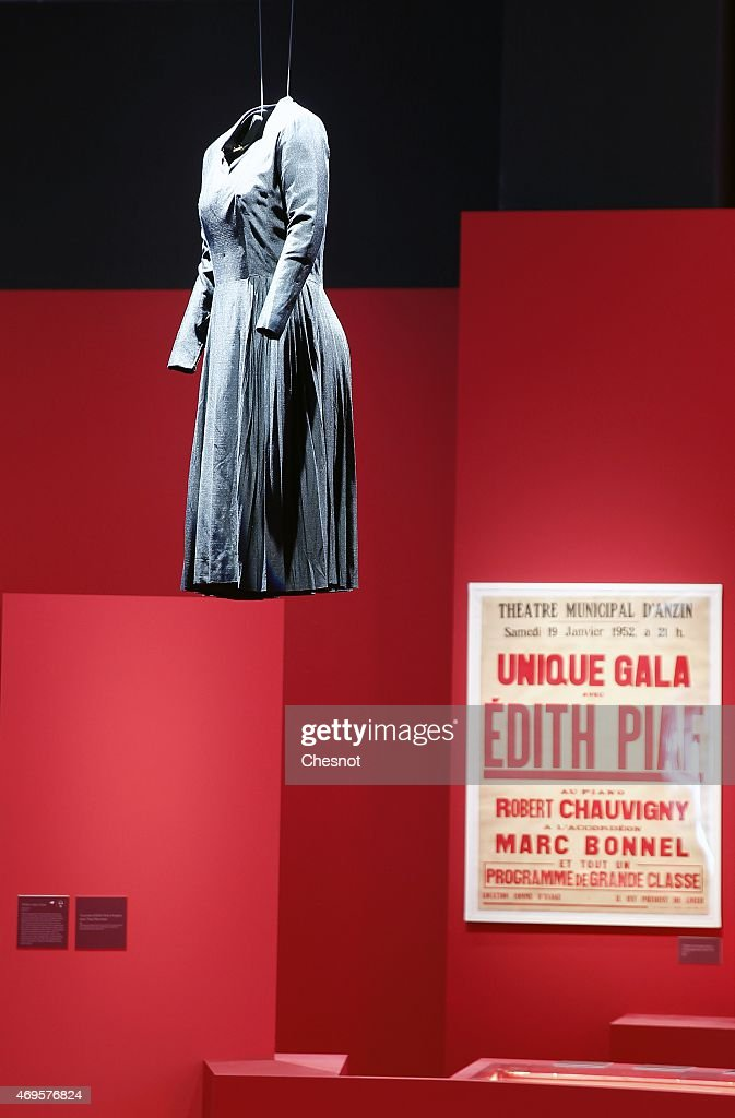'The little black dress' of french singer Edith Piaf is displayed during the 'PIAF' exhibition at the bibliotheque nationale de France (BNF, French national library) on April 13, 2015 in Paris, France. PIAF exhibition celebrates Edith Piaf's birth centenary.