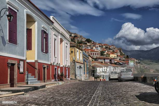 The little fishing port of Molyvos in Lesvos island Aegean Sea Greece Europe Lesvos is an island in the North Aegean sea Molyvos or Molivos is a...
