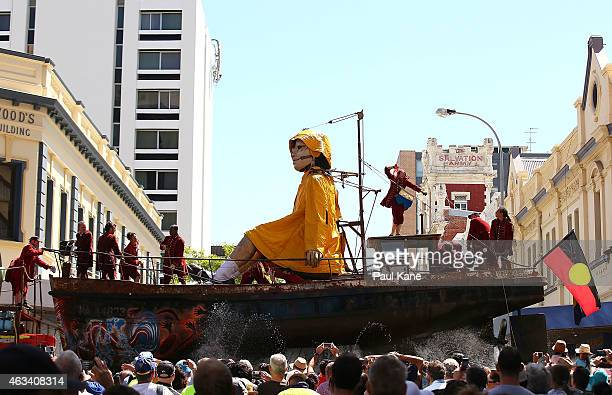 The Little Girl Giant sits in her boat on Hay Street during the Perth International Arts Festival on February 14 2015 in Perth Australia