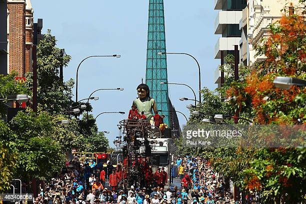 The Little Girl Giant travels down Barrack Street during the Perth International Arts Festival on February 14 2015 in Perth Australia