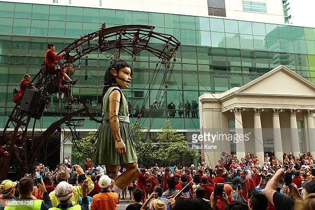 The little girl Giant walks down Hay Street during the Perth International Arts Festival on February 13 2015 in Perth Australia