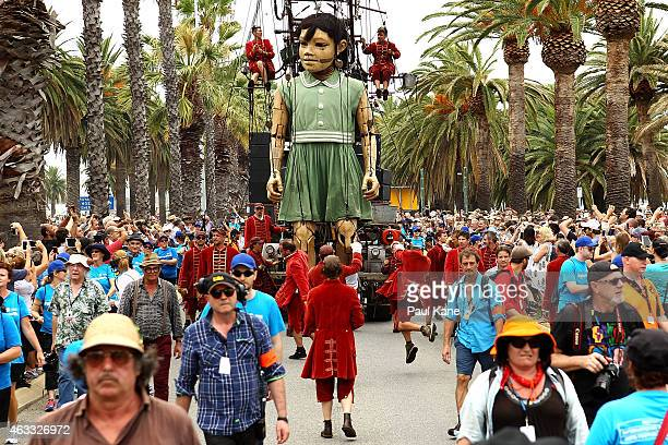 The little girl Giant walks down Riverside Drive during the Perth International Arts Festival on February 13 2015 in Perth Australia