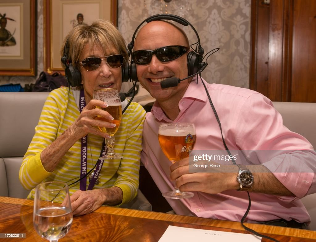 The Little Nell's Sabato Sagaria (right) tastes beer with Denver radio talkshow host Pat Miller during the Aspen Food & Wine Classic on June 14, 2013, in Aspen, Colorado. The 31st Annual Food & Wine Classic brings together the world's top chefs and vintners in a culinary and beverage celebration.