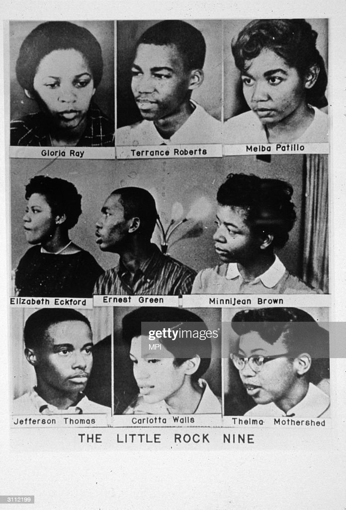 The 'Little Rock Nine'. Reading from top left, Gloria Ray, Terrance Roberts, Melba Patillo, Elizabeth Eckford, Ernest Green, Minnijean Brown, Jefferson Thomas, Carlotta Walls and Thelma Mothershed, students who were barred from entering high school by the Arkansas National Guard and a white mob. For their bravery they were awarded the 1958 Springarn medal.
