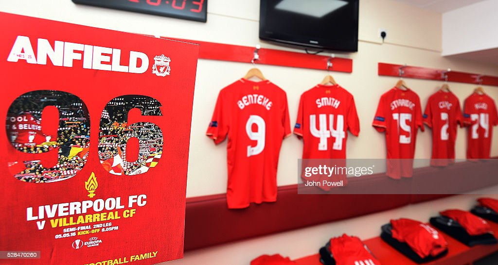 The Liverpool dressing room before the UEFA Europa League Semi Final: Second Leg match between Liverpool and Villarreal CF at Anfield on May 05, 2016 in Liverpool, England.