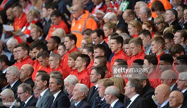The Liverpool football club youth team wear their red tops as they attend a memorial service to mark the 25th anniversary of the Hillsborough...