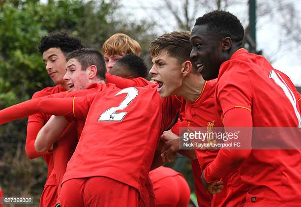 The Liverpool players celebrate Rhian Brewster's second goal Curtis Jones Liam Coyle Diego Lattie Adam Lewis and Bobby Adekanye during the Liverpool...