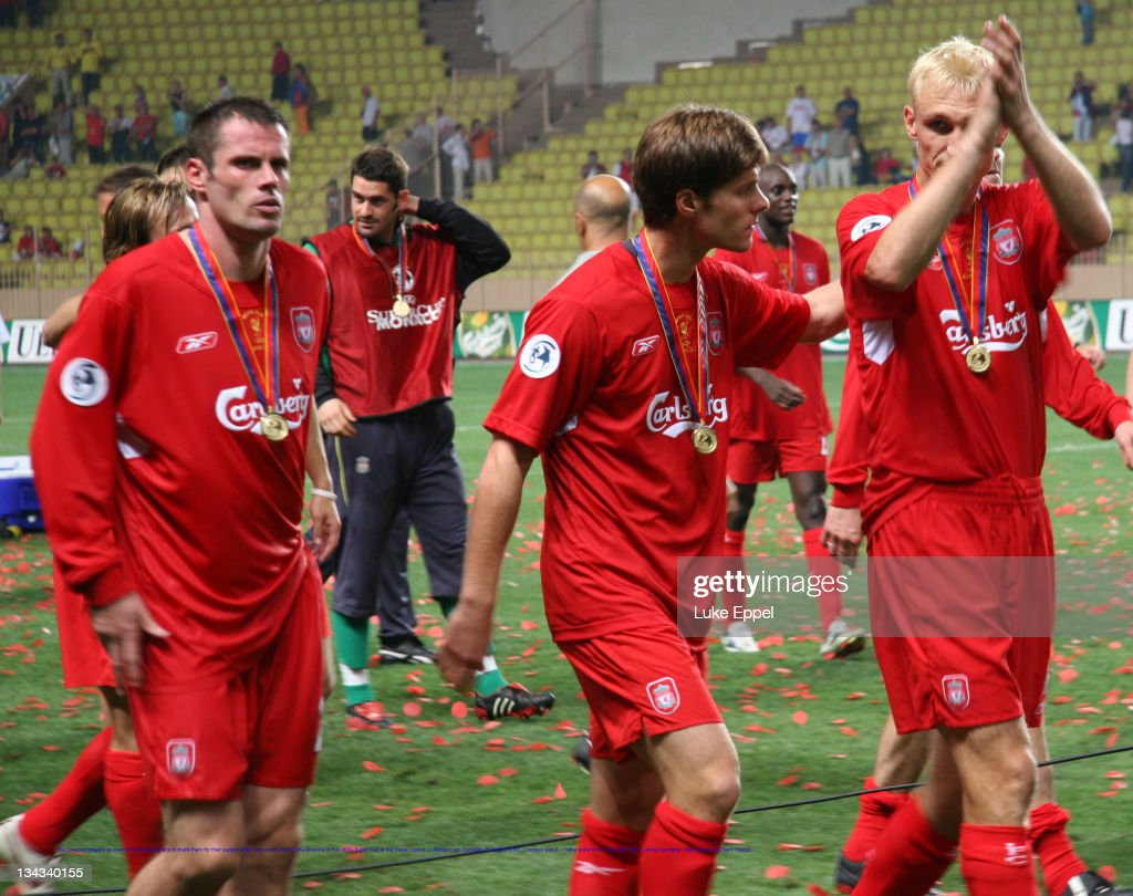 The Liverpool players go over to the travelling fans to thank them for their support after their victory over CSKA Moscow in the UEFA Super Cup at...