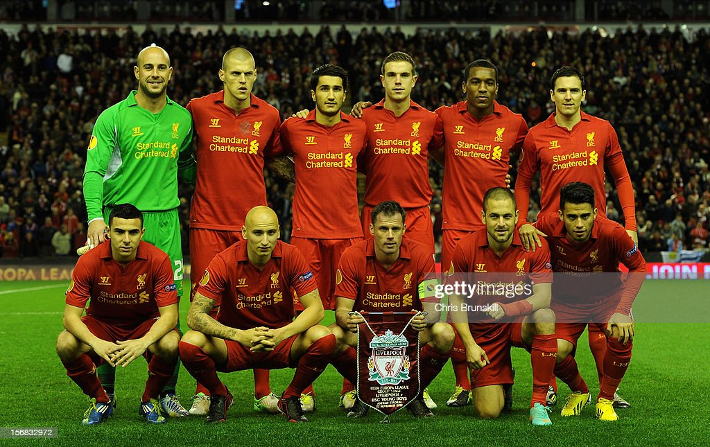 The Liverpool players line up for a team photo prior to the UEFA Europa League Group A match between Liverpool FC and BSC Young Boys at Anfield on November 22, 2012 in Liverpool, England.