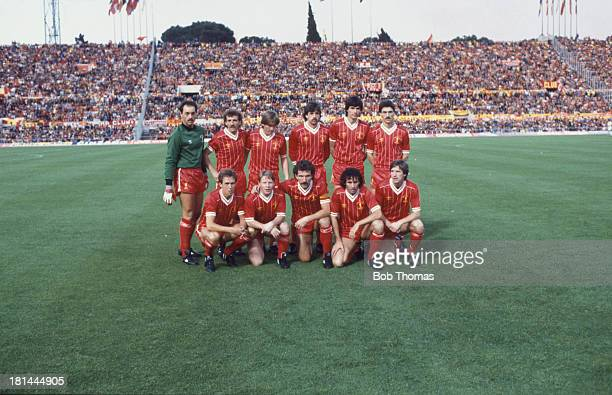 The Liverpool team at the Stadio Olimpico in Rome for the European Cup Final against AS Roma 30th May 1984 The team won the final after a 11 draw...