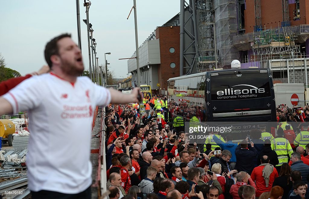 The Liverpool team bus arrives ahead of the start of the UEFA Europa League semi-final second leg football match between Liverpool and Villarreal CF at Anfield in Liverpool, northwest England on May 5, 2016. / AFP / OLI