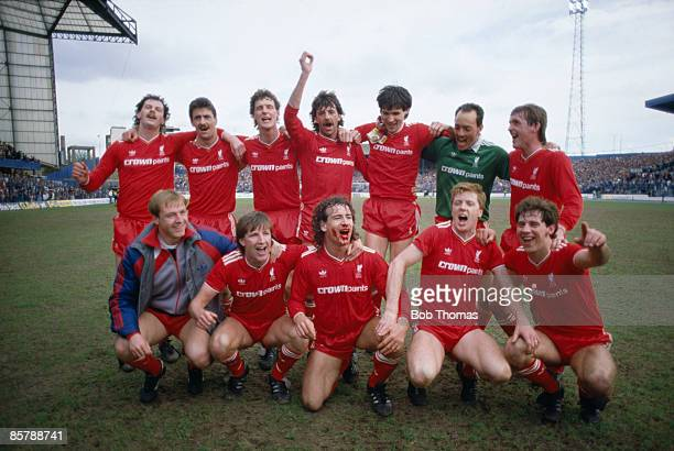 The Liverpool team celebrate after their 10 victory over Chelsea at Stamford Bridge had clinched the League Championship for them 3rd May 1986 Back...