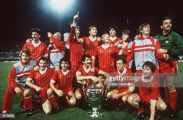 The Liverpool Team celebrate after winning the 1984 Europeam Cup Final between AS Roma v Liverool held at the Olympic Stadium Rome Italy Mandatory...