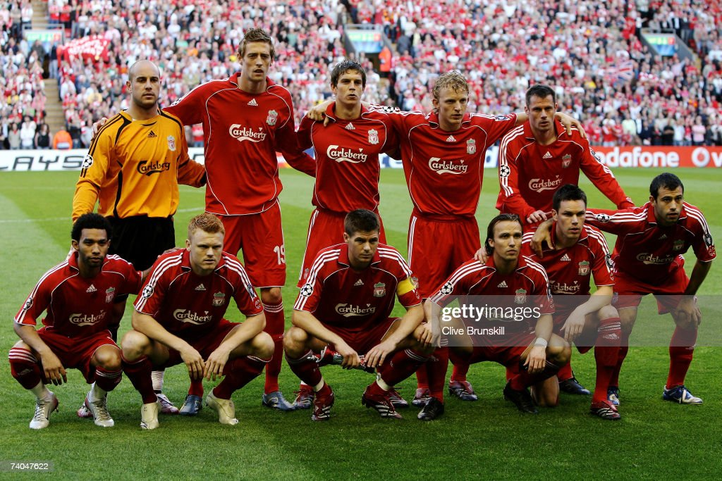 The Liverpool team line up prior to the UEFA Champions League semi final second leg match between Liverpool and Chelsea at Anfield on May 1, 2007 in Liverpool, England.