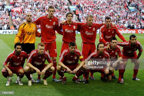The Liverpool team line up prior to the UEFA Champions League semi final second leg match between Liverpool and Chelsea at Anfield on May 1 2007 in...
