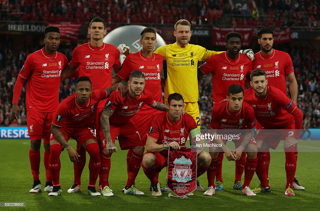 The Liverpool Team pose for photographs during the UEFA Europa League ...