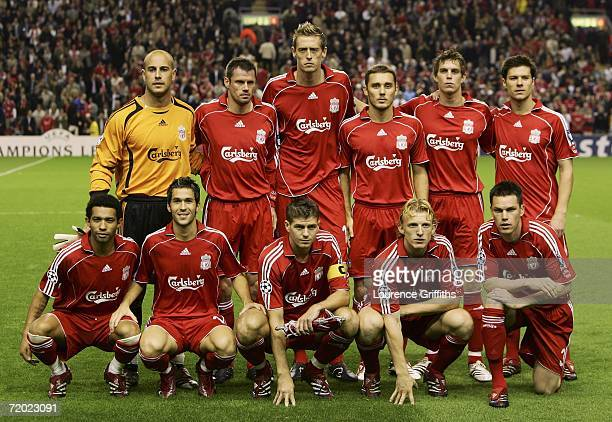 The Liverpool team pose for the cameras prior to kickoff during the UEFA Champions League group C match between Liverpool and Galatasaray at Anfield...
