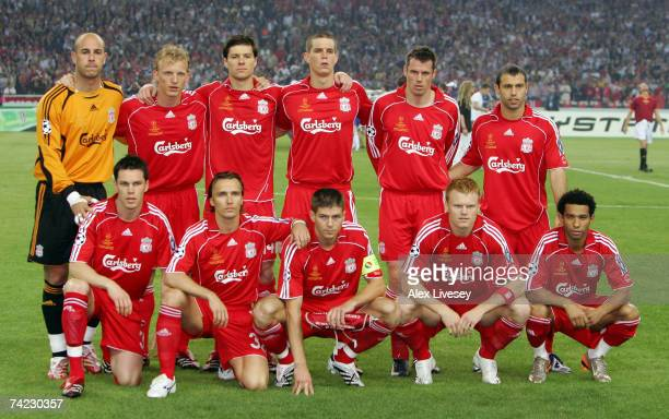 The Liverpool team pose for the cameras prior to kickoff during the UEFA Champions League Final match between Liverpool and AC Milan at the Olympic...