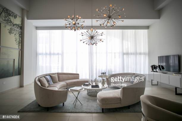 The living area of a showroom apartment is seen inside the Bahia Plaza residence complex at the Paseo Caribe luxury development in San Juan Puerto...