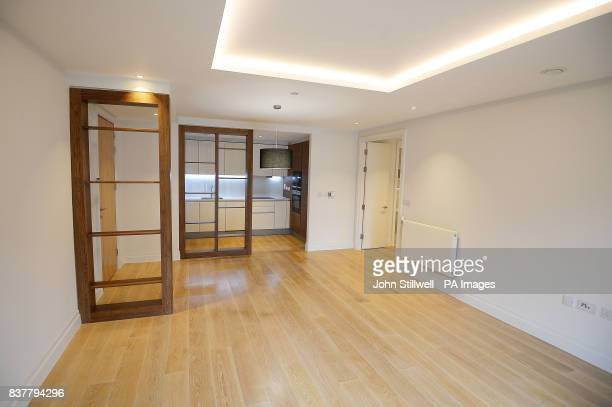 The living room and kitchen of a two bedroom flat in Chelsea west London which will be offered to Grenfell survivors as permanent housing