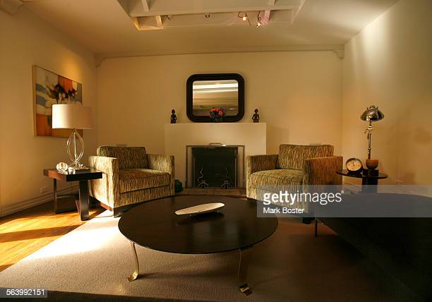 –The living room in the 1920's Santa Monica home owned by Jerome Dahan and his fiancee Lela Tillem features mid century accessories and furntiture...