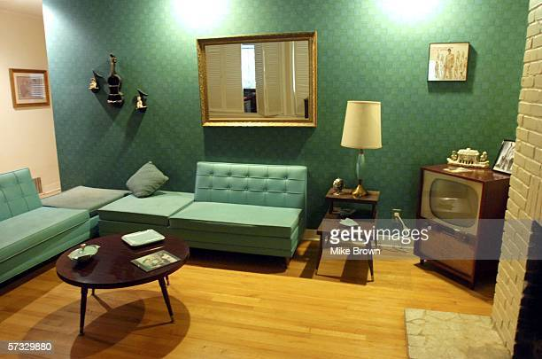 The living room of Elvis Presley's former home at 1034 Audubon Drive is seen April 12 2006 in Memphis Tennessee The home purchased by the King of...