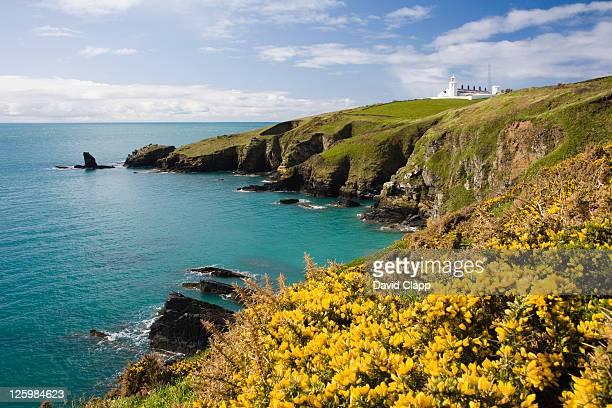 The Lizard Lighthouse from Housel Bay, The Lizard, Cornwall, England
