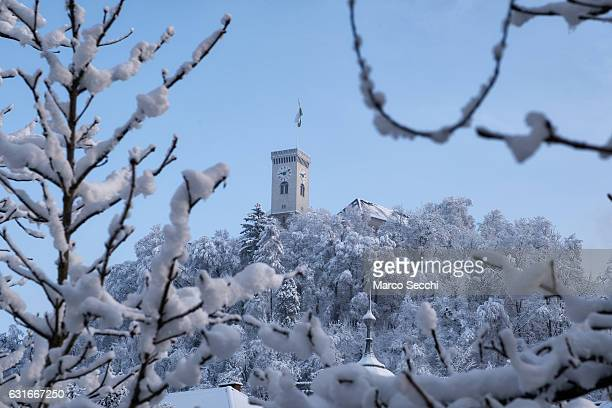 The Ljubljana Castle is seen on January 14 2017 in Ljubljana Slovenia Most of Slovenia was covered by heavy snowfalls for the first time this winter