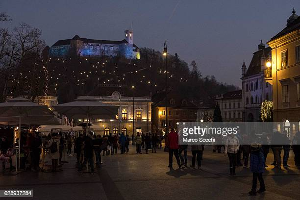 The Ljubljana Castle lit for the festive season on December 10 2016 in Ljubljana Slovenia The traditional Christmas market and lights will stay until...