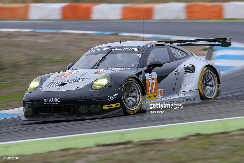 The #77 LMGTE Porsche 911 RSR 991 driven by Michael Hedlund (USA) and Wolf Henzler (DEU) and Marco Seefried (DEU) during the session tests of European Le Mans Series Estoril at Autodromo do Estoril in Portugal on October 21, 2016.