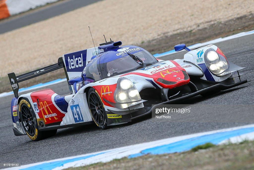 The #41 LMP2 Ligier JS P2 - Nissan driven by Memo Rojas (MEX) and Julien Canal (FRA) and Nathanael Berthon (FRA) during the session tests of European Le Mans Series Estoril at Autodromo do Estoril in Portugal on October 21, 2016.
