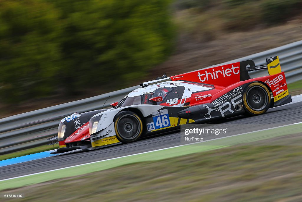 The #46 LMP2 Oreca 05 - Nissan driven by Pierre Thiriet (FRA) and Mathias Beche (CHE) and Ryo Hirakawa (JPN) during the session tests of European Le Mans Series Estoril at Autodromo do Estoril in Portugal on October 21, 2016.