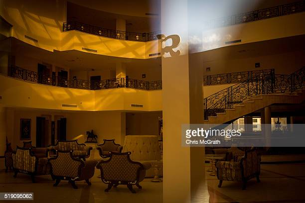 The lobby of an abandoned resort is seen through a window on April 3 2016 in Sharm El Sheikh Egypt Prior to the Arab Spring in 2011 some 15million...