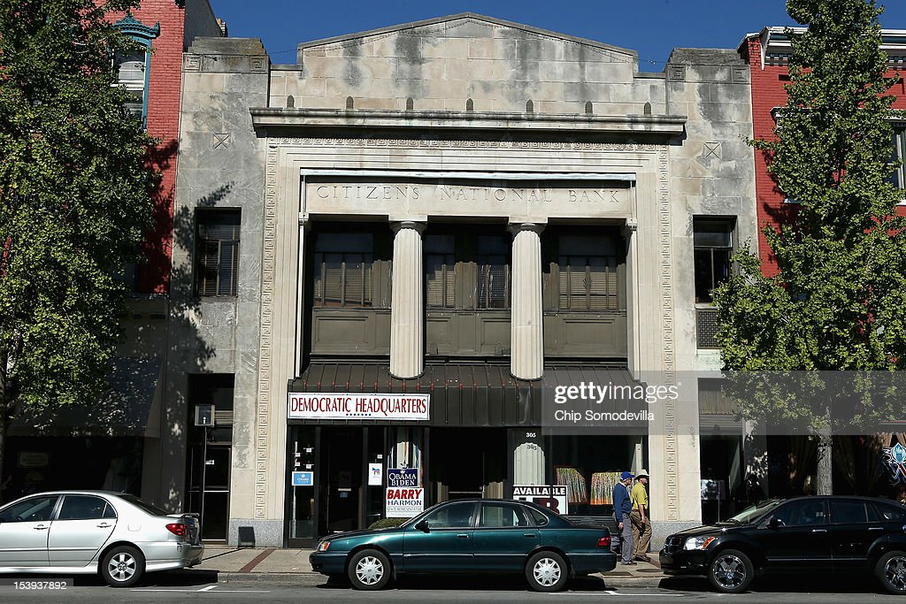 The local Democratic Party headquarters occupy a small storefront in the old Citizens National Bank ahead of the vice presidential debate October 11...