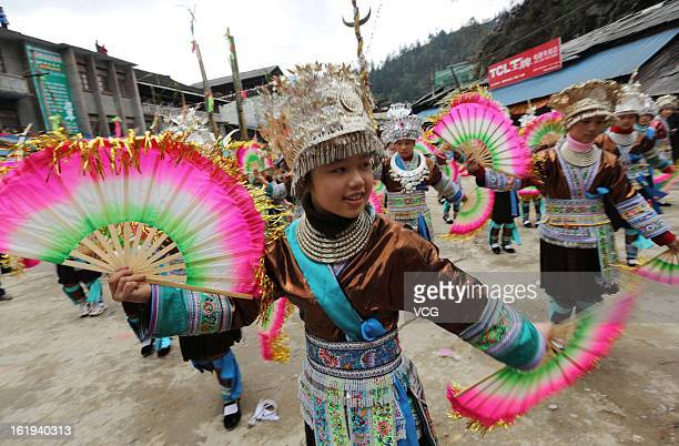 The local Miao nationality people wearing traditional clothes gather to celebrate the Spring Festival on February 17 2013 in Rongshui China The...