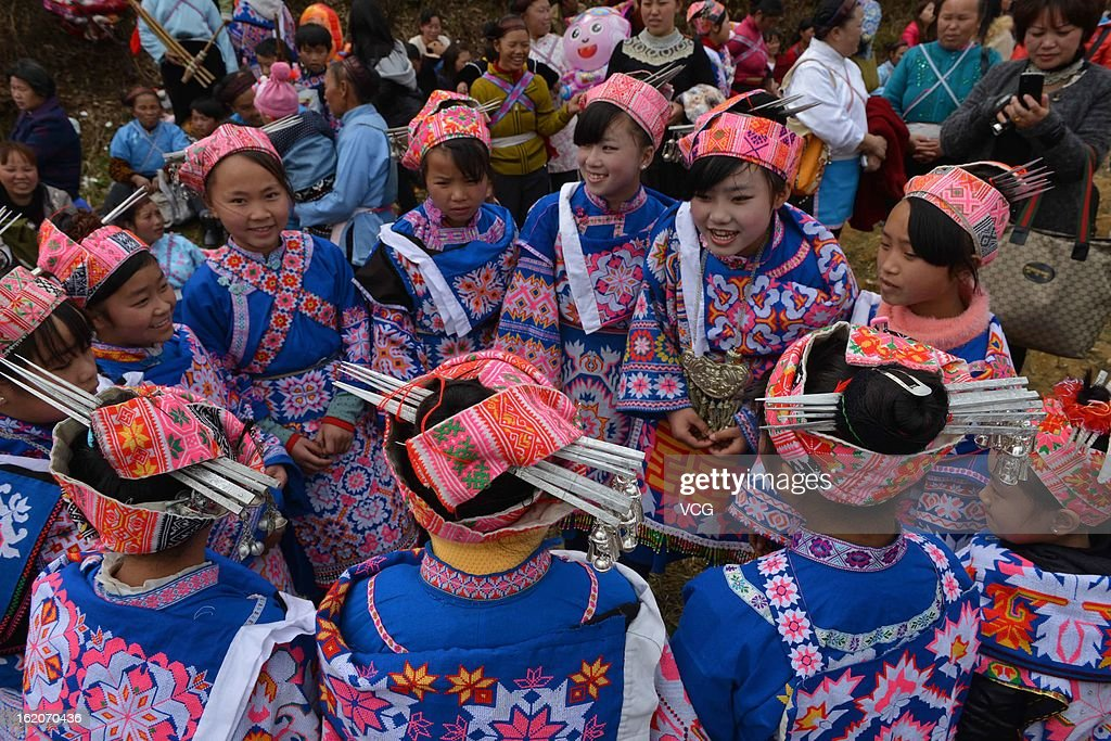 The local Miao nationality people wearing traditional clothes gather to celebrate the Spring Festival on February 18, 2013 in Guiyang, China. The Chinese Lunar New Year also known as the Spring Festival, which is based on the Lunisolar Chinese calendar, is celebrated from the first day of the first month of the lunar year and ends with Lantern Festival on the Fifteenth day. 2013 is the Year of the Snake according the 12-year cycle of animals which appear in the Chinese Zodiac.