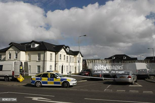The location in Highfield Close Omagh as forensic PSNI officers work at the scene after Catholic police officer Ronan Kerr was killed yesterday by a...