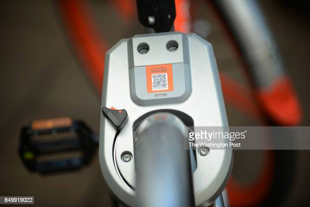 The lock of one of the Mobikes in Washington DC September 15 which were introduced to council members before entering the US market on Wednesday...
