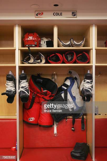 The locker of Erik Cole of the Carolina Hurricanes is shown in the locker room following the game against the Ottawa Senators on February 27 2007 at...