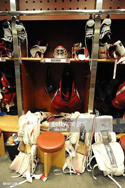 The locker of goaltender Chris Osgood of the Detroit Red Wings is filled with his skates pads and helmet after a 21 loss to the Pittsburgh Penguins...