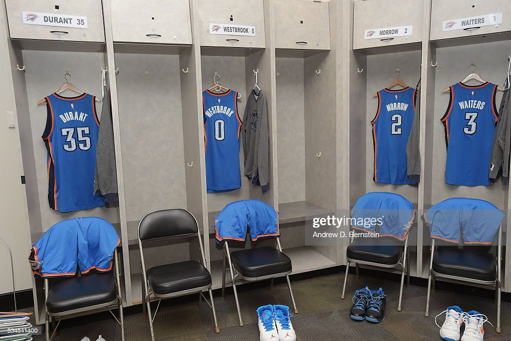 The locker room of the Oklahoma City Thunder before Game Five of the Western Conference Finals against the Golden State Warriors during the 2016 NBA Playoffs on May 26, 2016 at ORACLE Arena in Oakland, California.
